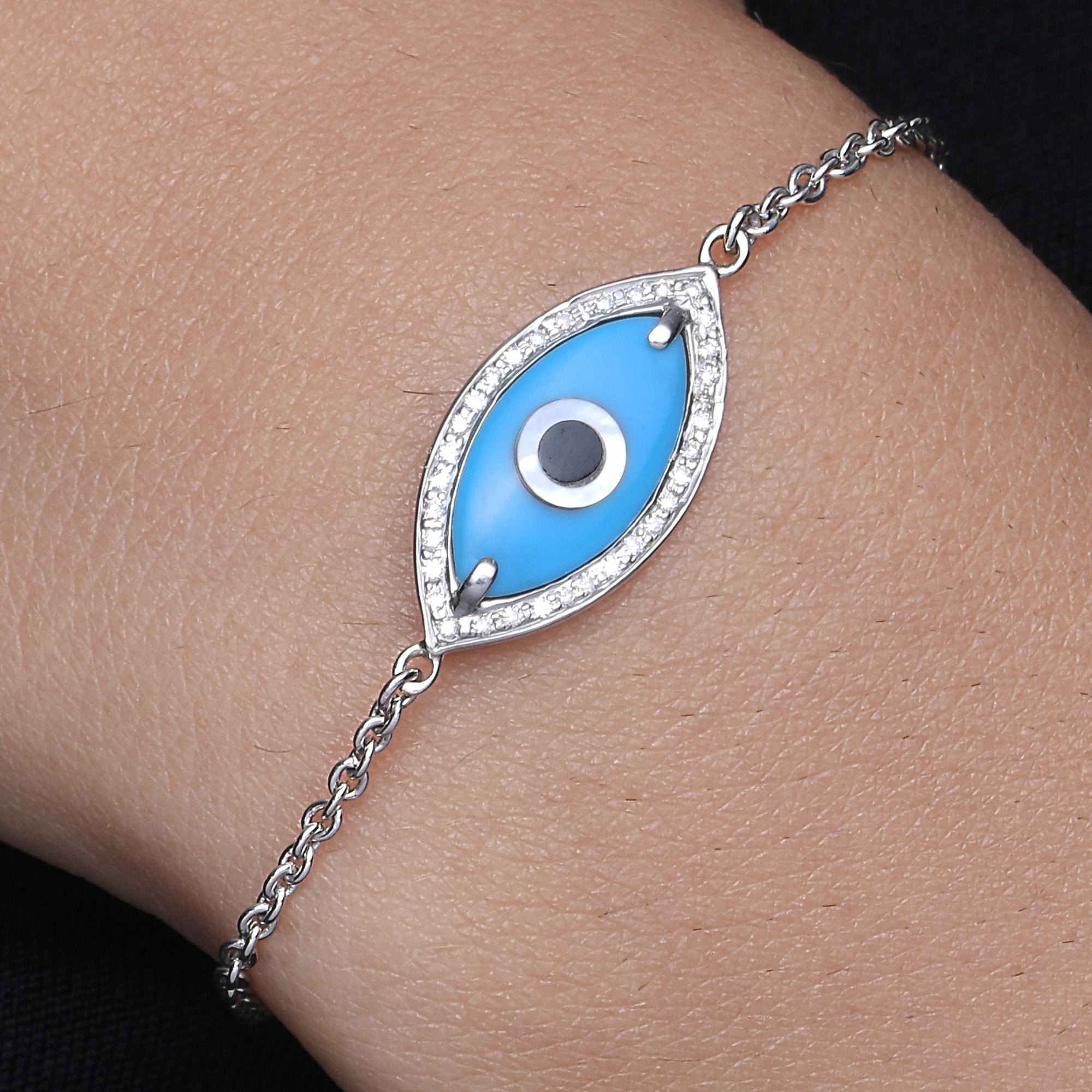 Medium Marquise Turquoise Evil Eye Diamond Chain Bracelet
