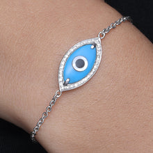 Load image into Gallery viewer, Medium Marquise Turquoise Evil Eye Diamond Chain Bracelet