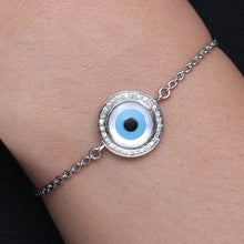 Load image into Gallery viewer, Small Round Evil Eye Diamond Chain Bracelet