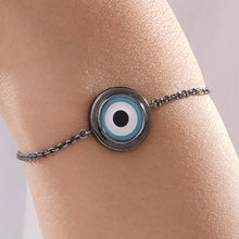 Load image into Gallery viewer, Small Round Turquoise Evil Eye Chain Bracelet
