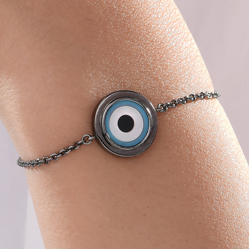 Small Round Turquoise Evil Eye Chain Bracelet