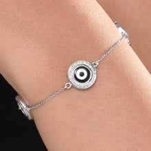 Load image into Gallery viewer, Small Round Black Onyx Evil Eye Eye Diamond Chain Bracelet