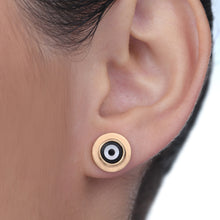 Load image into Gallery viewer, Round Black Onyx Evil Eye Studs