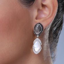 Load image into Gallery viewer, Grey and White Mother of Pearl Earrings