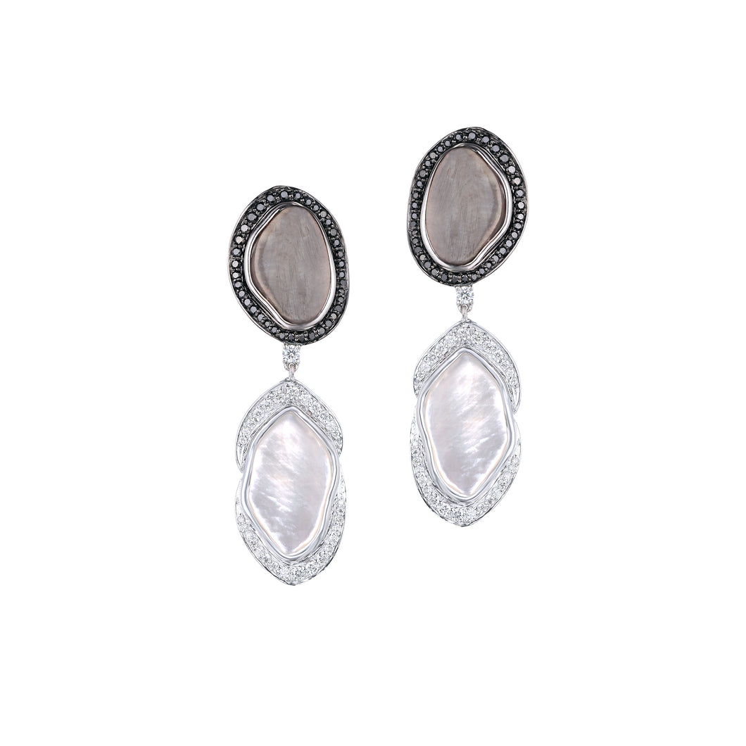 Grey and White Mother of Pearl Earrings