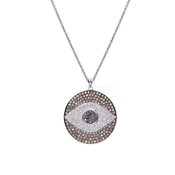 Large Evil Eye Diamond Chain Pendant