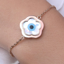 Load image into Gallery viewer, Small Flower Evil Eye Chain Bracelet