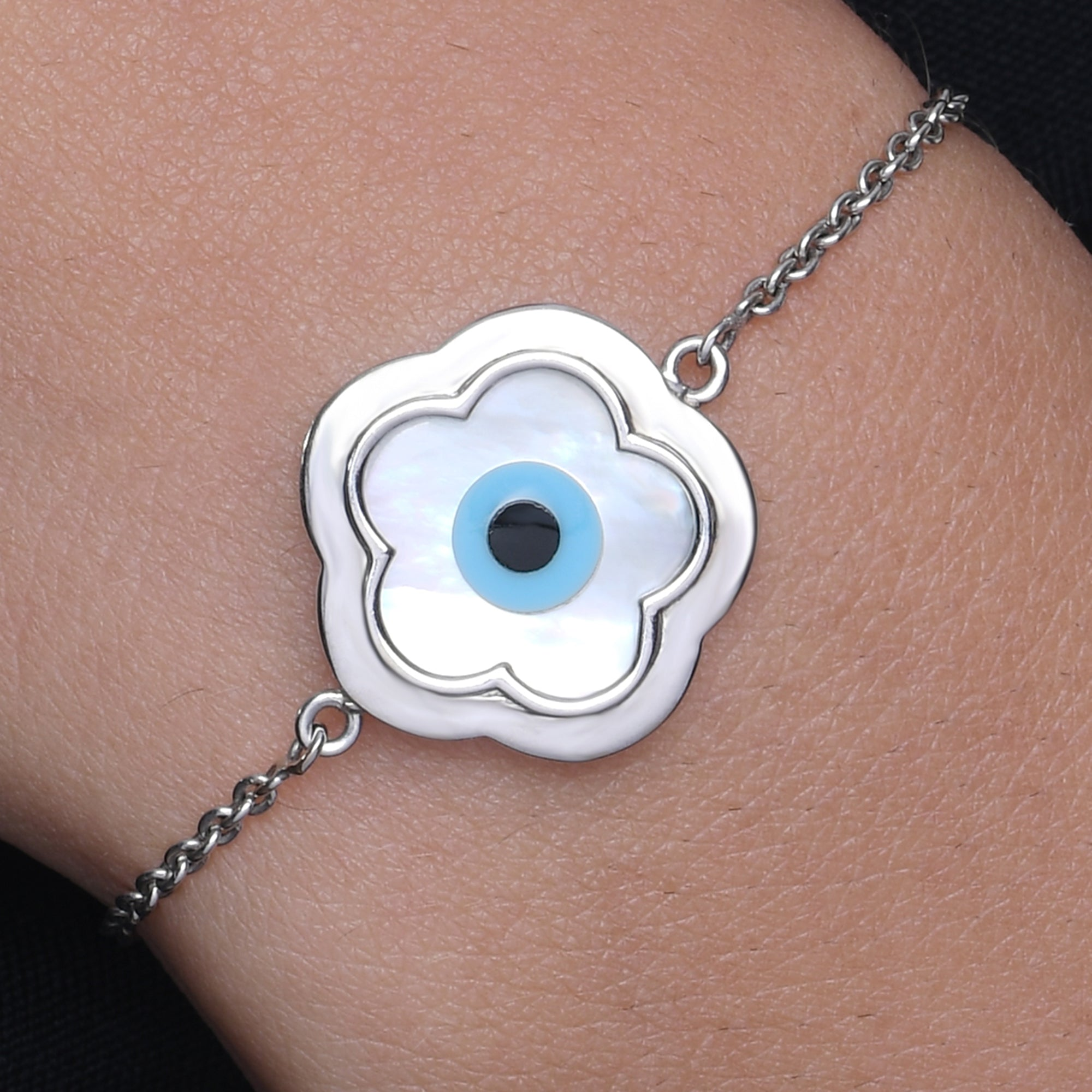 Small Flower Evil Eye Chain Bracelet