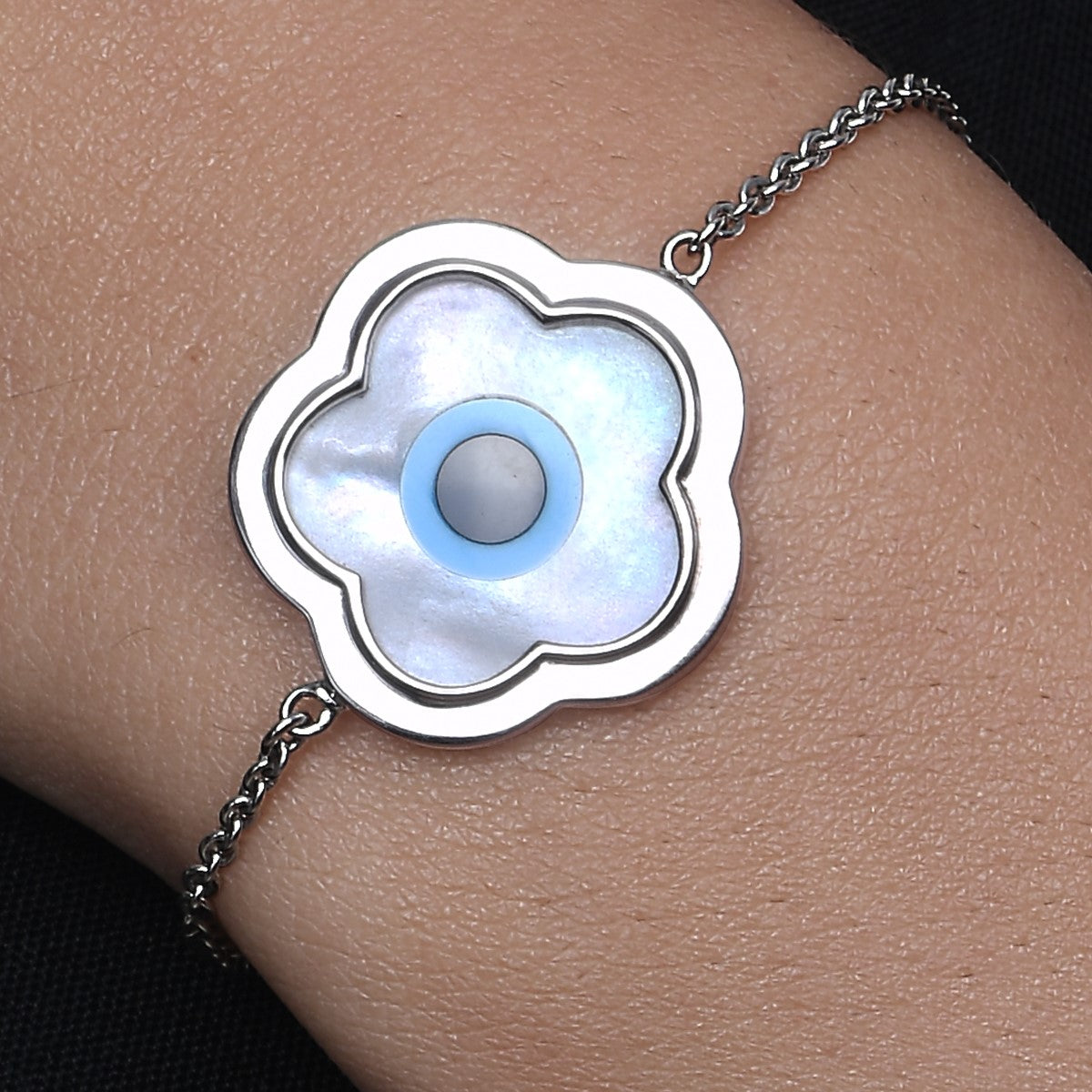 Large Flower Evil Eye Chain Bracelet