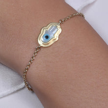 Load image into Gallery viewer, Small Hamsa Hand Evil Eye Chain Bracelet