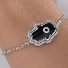 Load image into Gallery viewer, Large Hamsa Hand Black Onyx Evil Eye Diamond Chain Bracelet