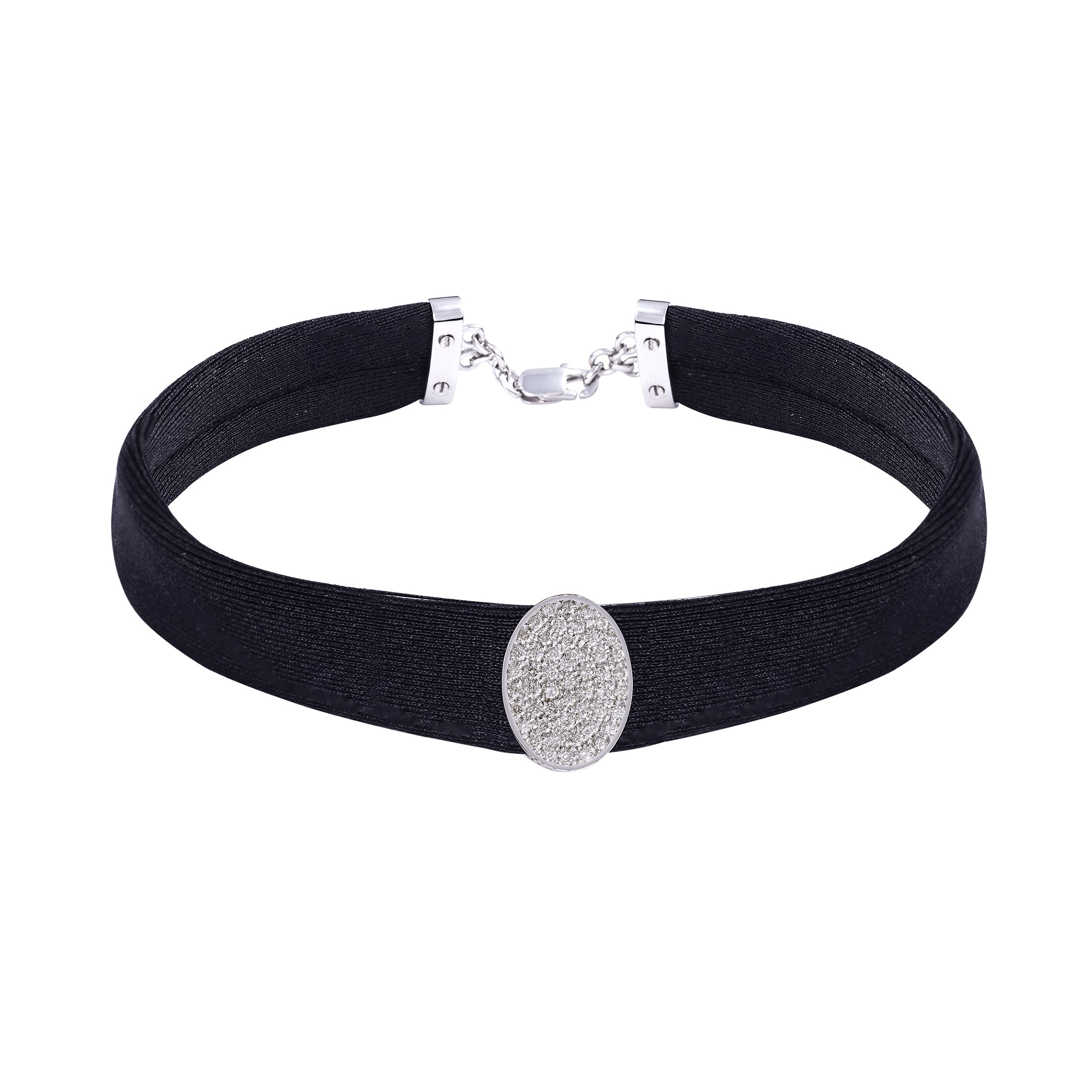 Oval Diamond Black Band Choker