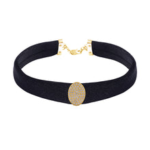 Load image into Gallery viewer, Oval Diamond Black Band Choker