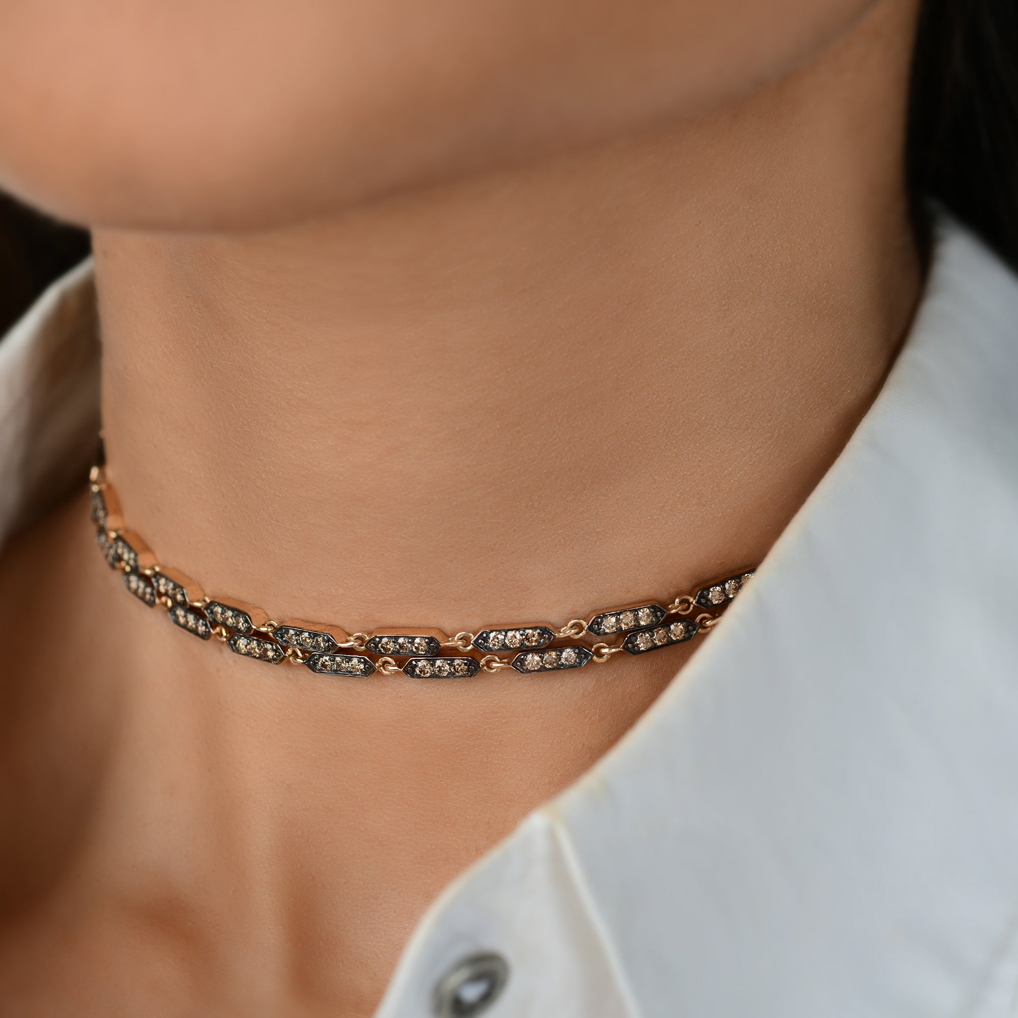 Coffee Diamond Choker