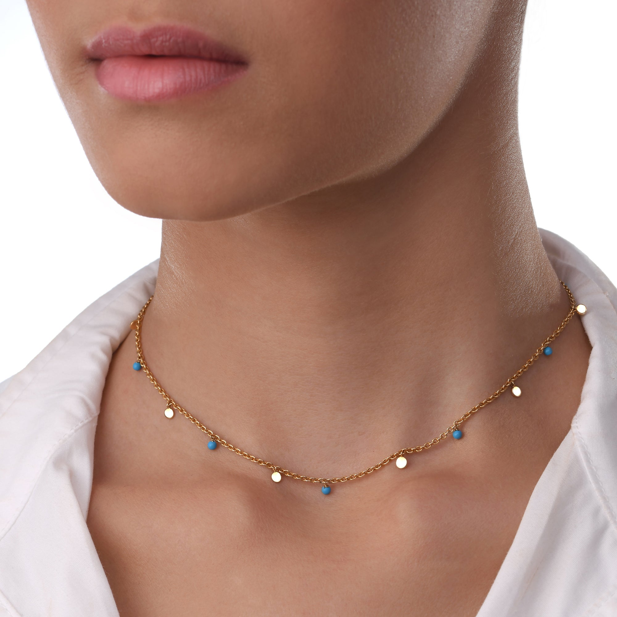 Turquiose Bead Chain Necklace