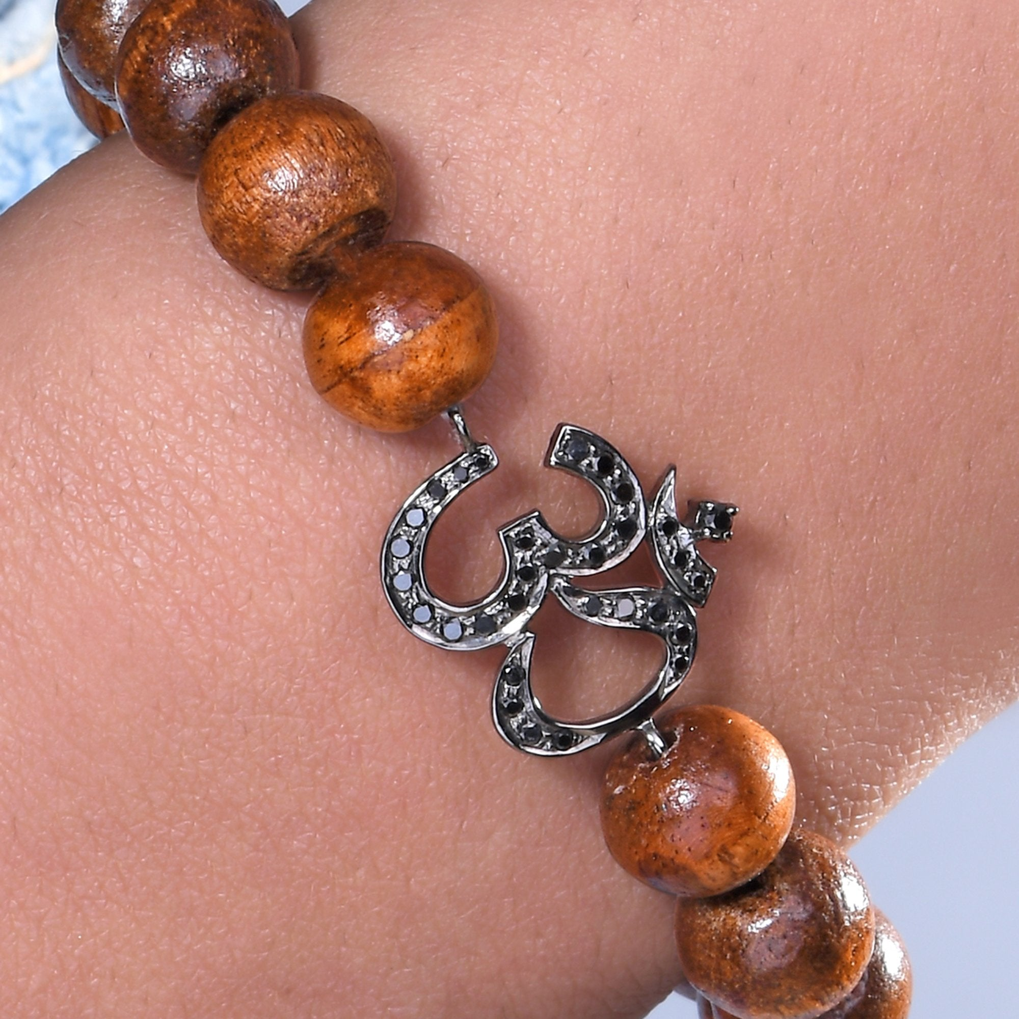 OM Black Diamond Wooden Bead Bracelet