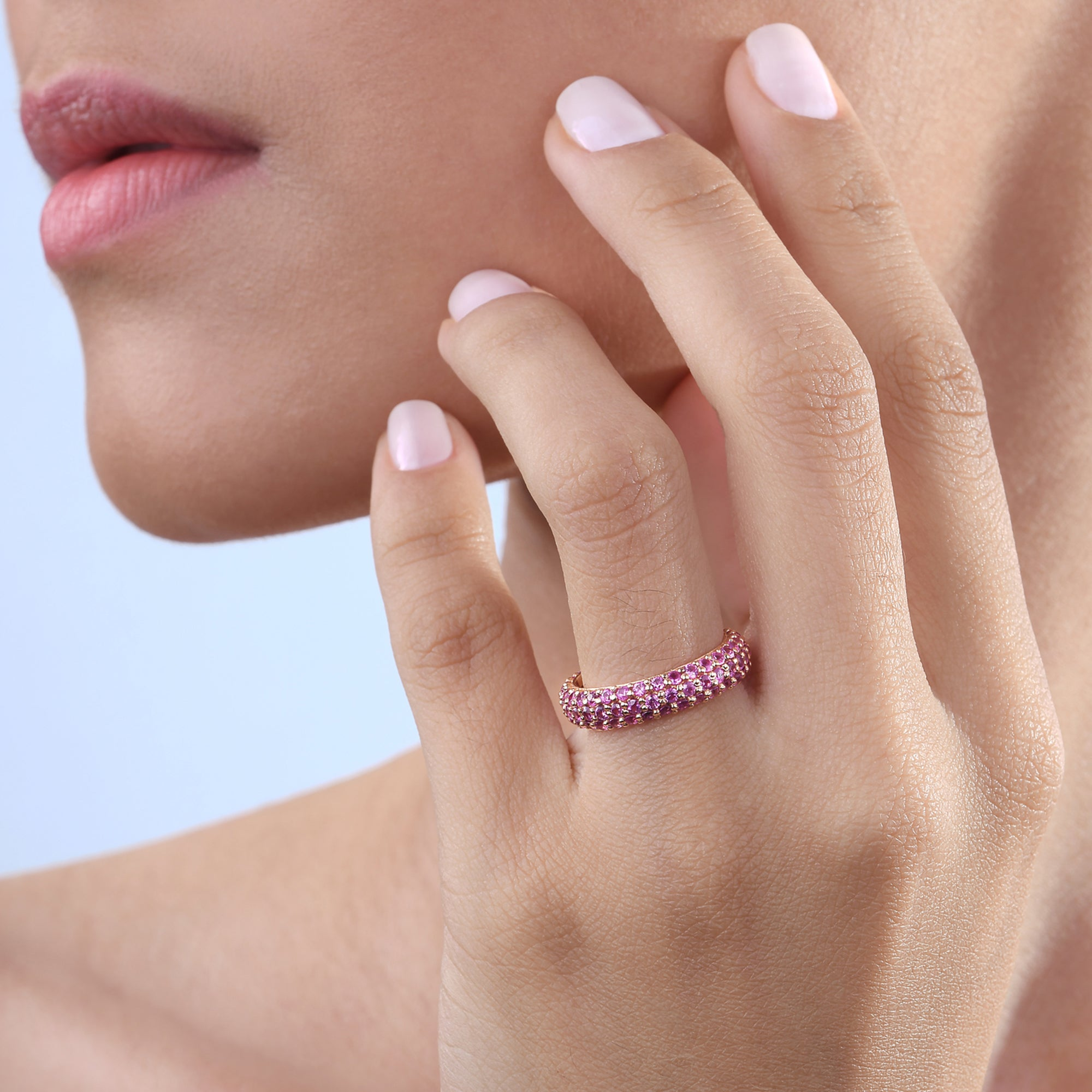 Pink Sapphire Stackable Classic Ring