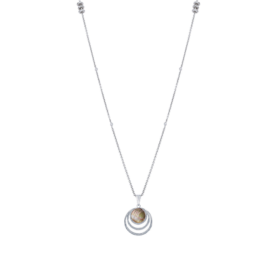 Grey Mother of Pearl Diamond Long Chain Pendant