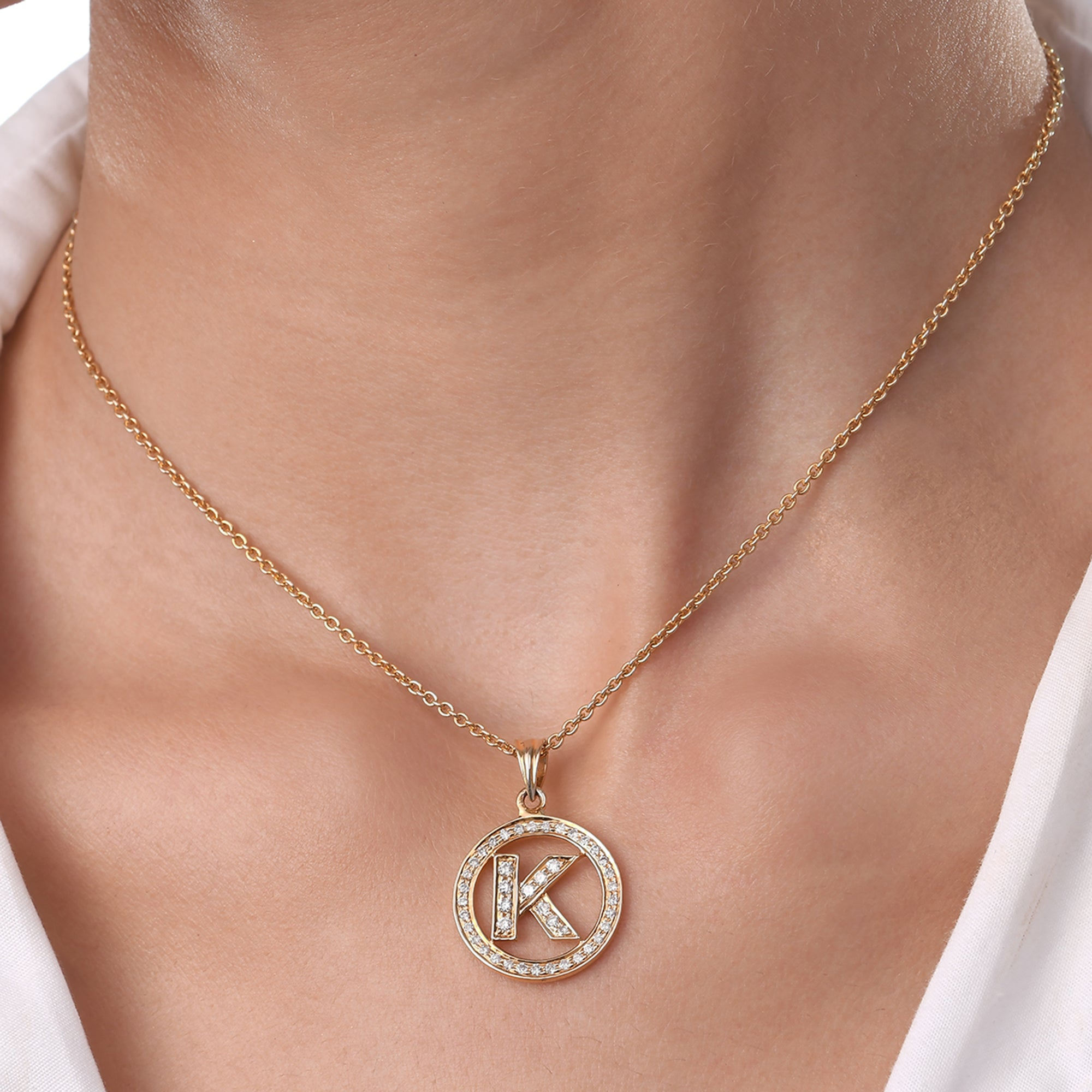 Personalised Diamond Initial Chain Pendant