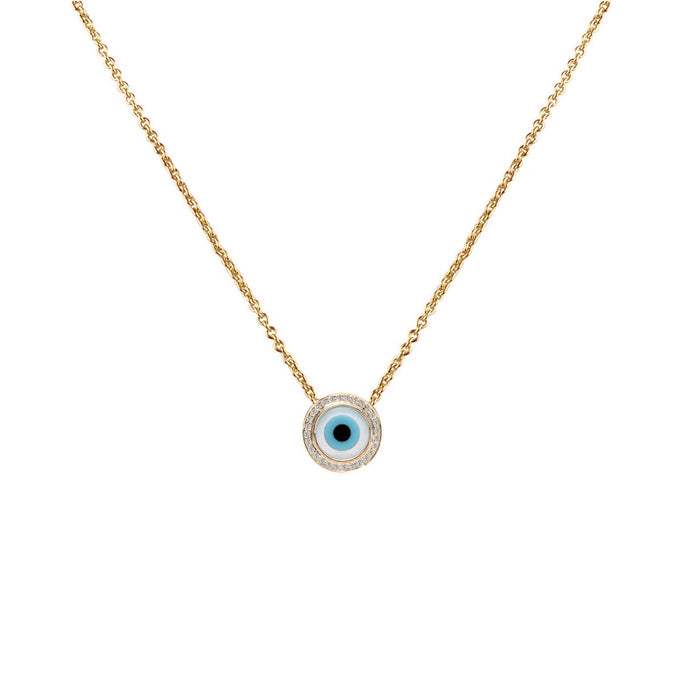 Small Round Evil Eye Diamond Chain Pendant