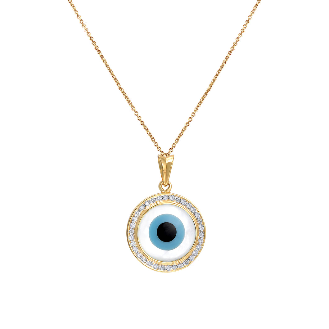 Round Evil Eye Diamond Chain Pendant