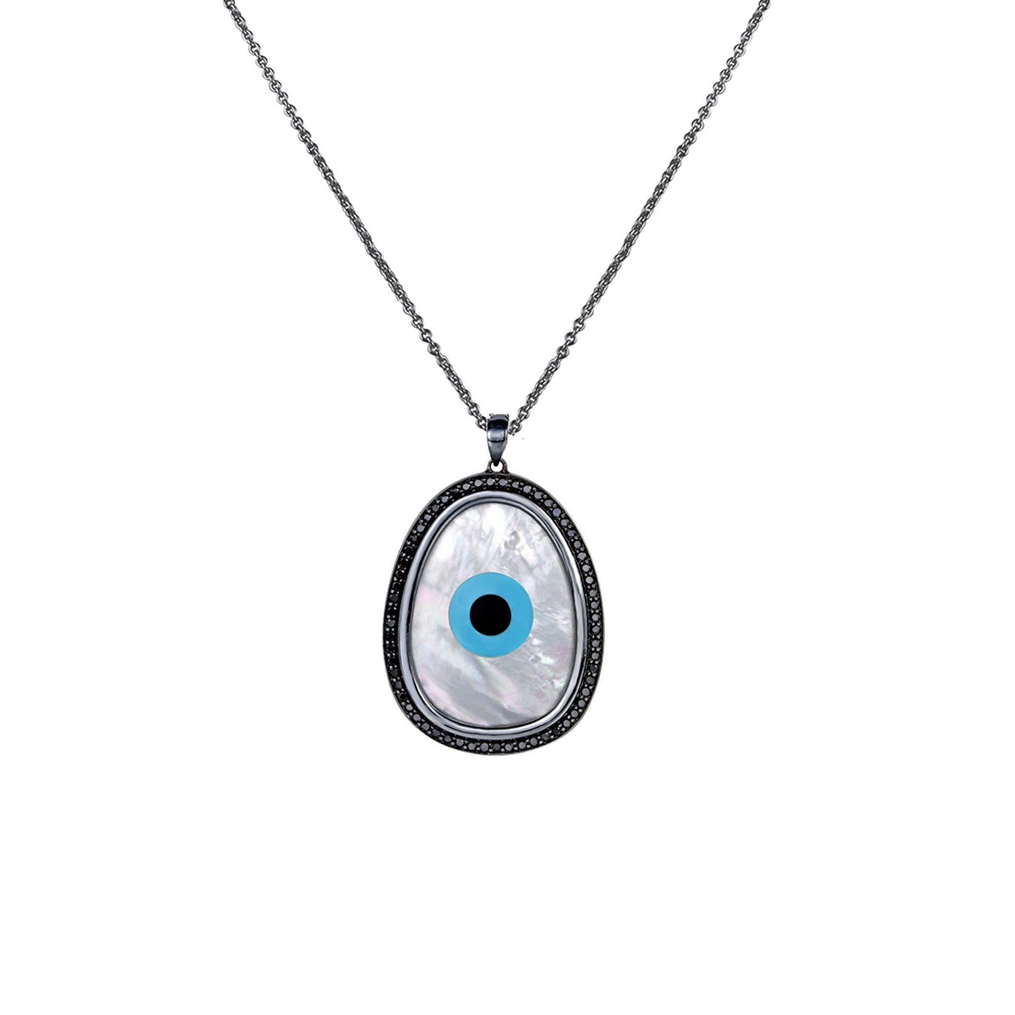 Oblong Evil Eye Black Diamond Chain Pendant