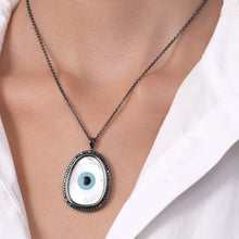 Load image into Gallery viewer, Oblong Evil Eye Black Diamond Chain Pendant
