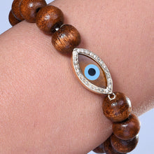 Load image into Gallery viewer, Marquise Tiger Eye Diamond  Wooden Bead Bracelet