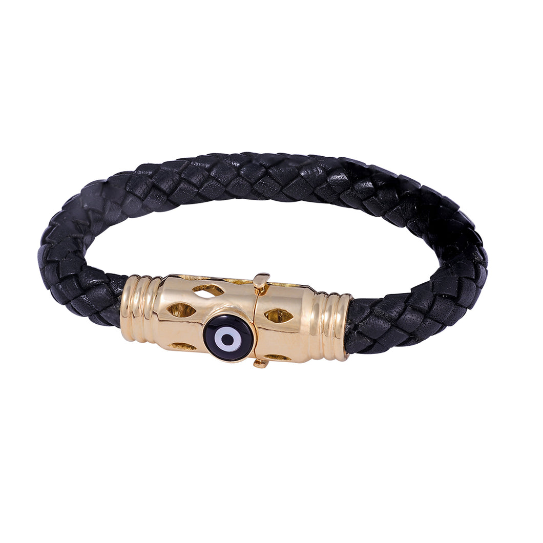 Round Black Onyx Leather Bracelet