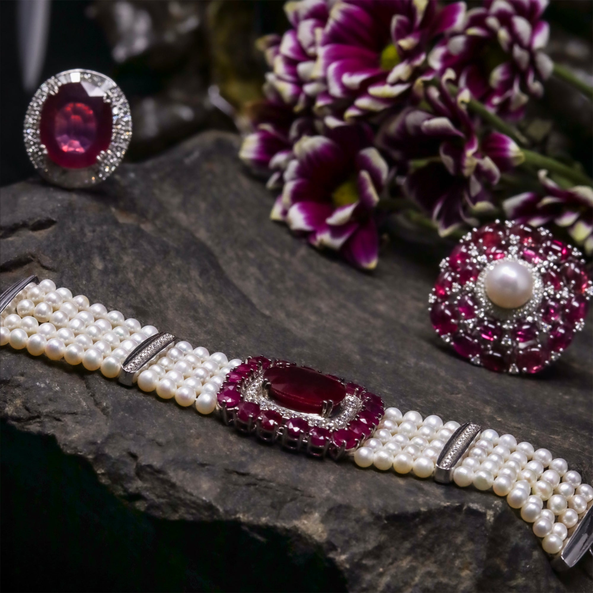 Ruby, Diamond and Pearl Bracelet