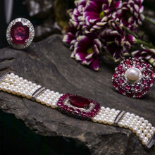 Load image into Gallery viewer, Ruby, Diamond and Pearl Bracelet