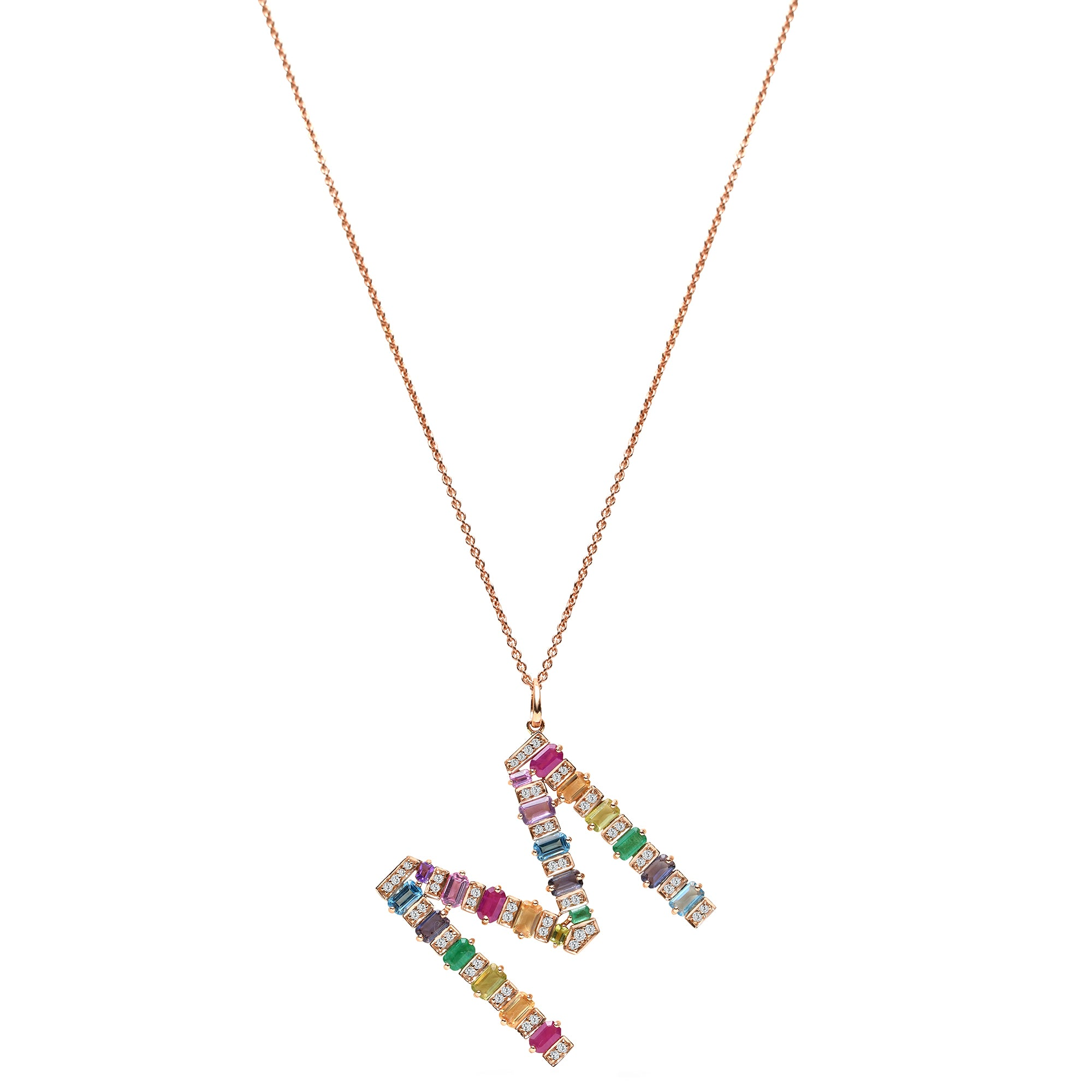 Multi-coloured M Pendant