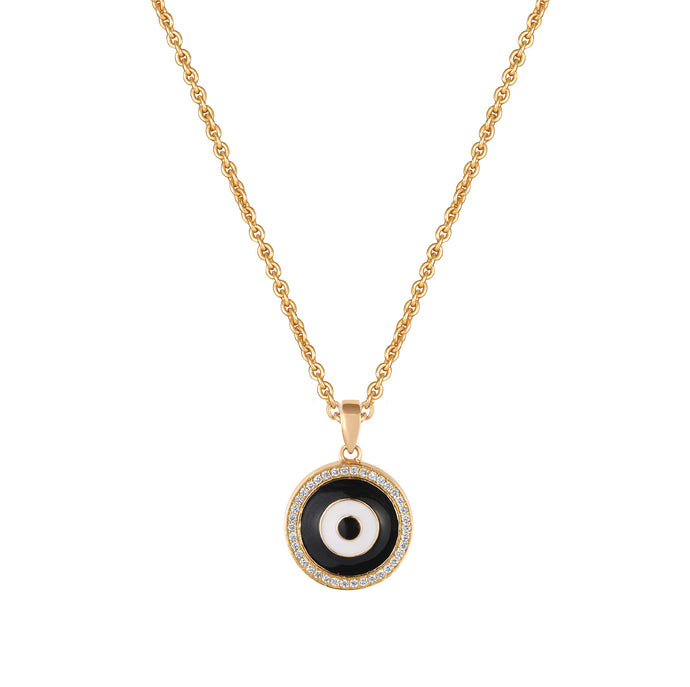 Black Enamel Evil Eye Diamond Chain Pendant