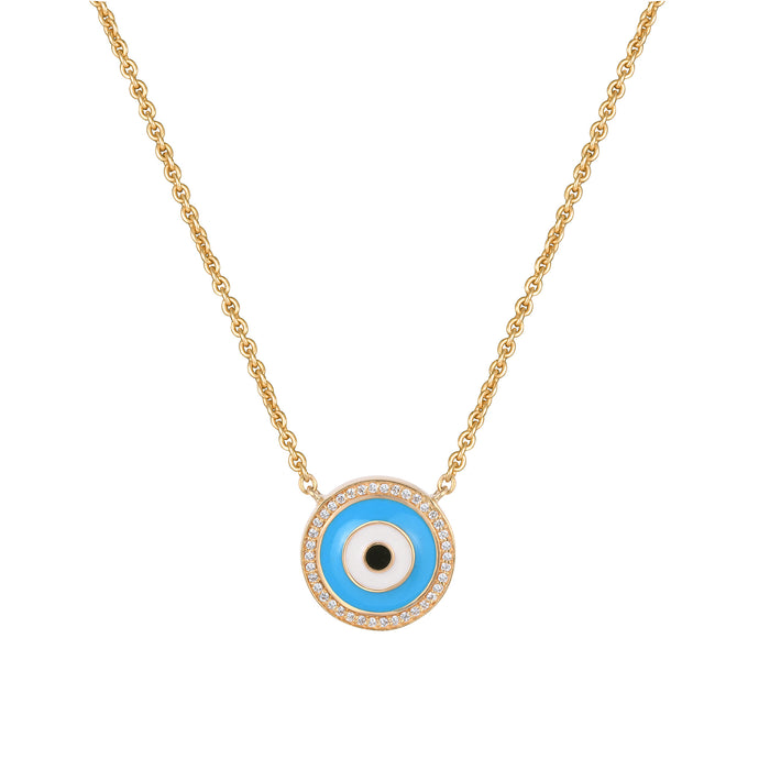 Blue Enamel Evil Eye Diamond Chain Pendant