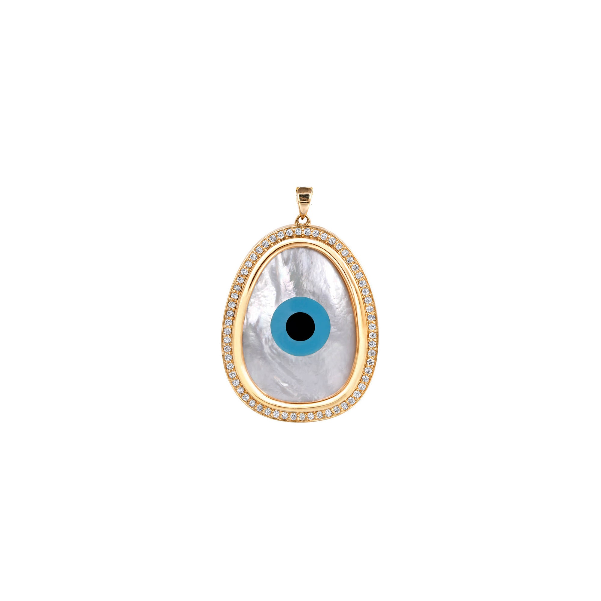 Oblong Evil Eye Diamond Pendant