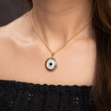 Load image into Gallery viewer, Small Round Off White Evil Eye Chain Pendant