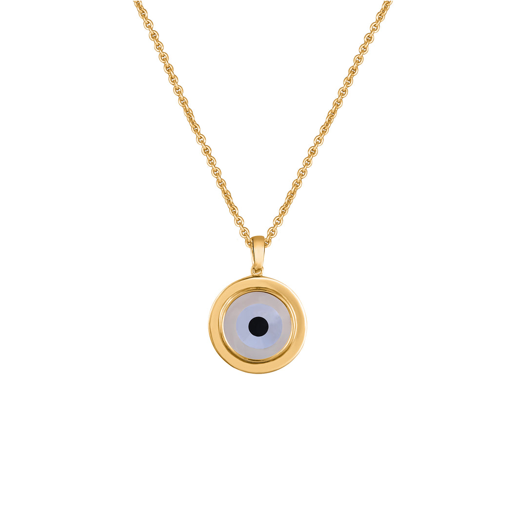 Small Round Off White Evil Eye Chain Pendant