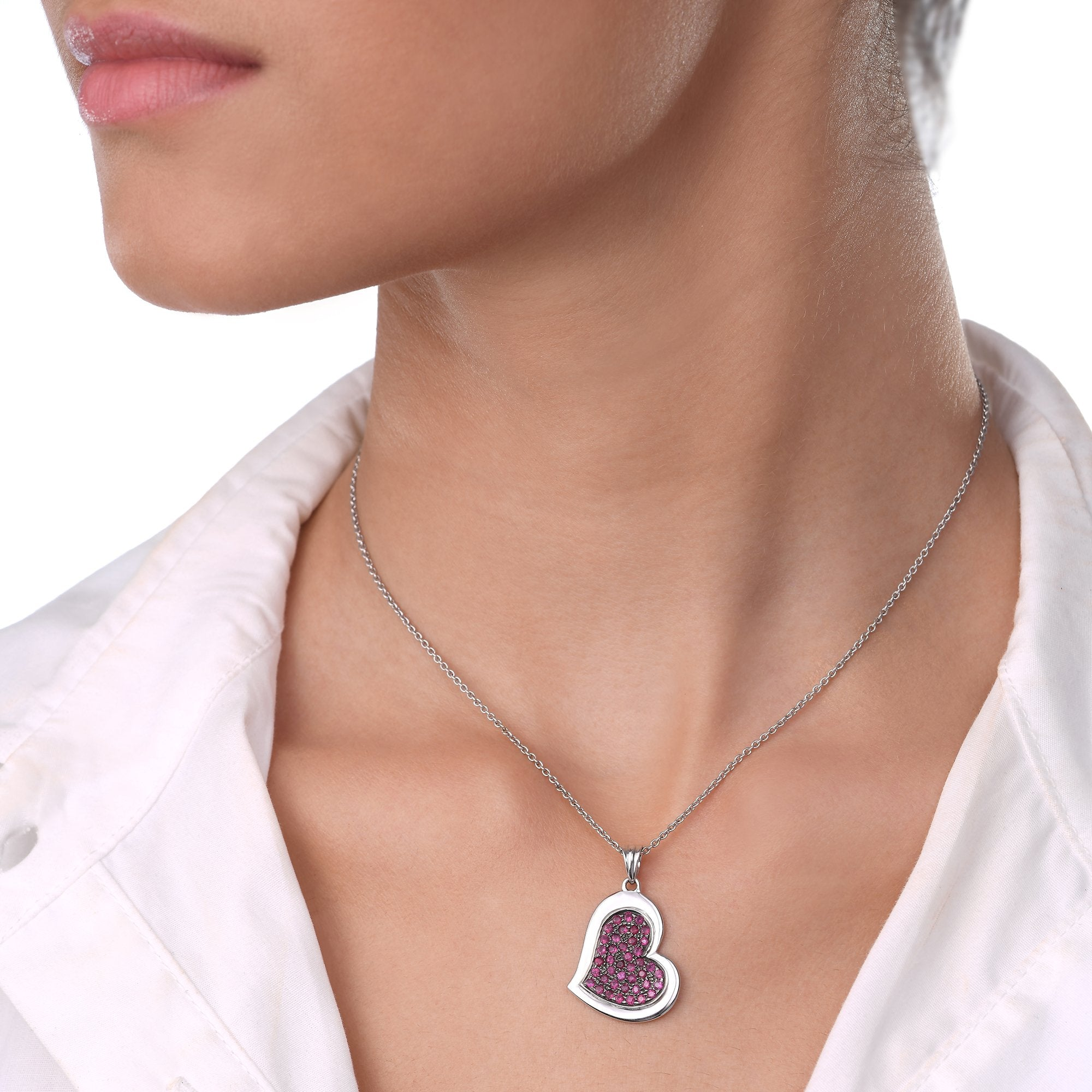 Heart Ruby Chain Pendant