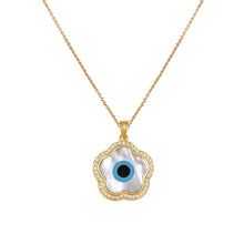 Load image into Gallery viewer, Small Flower Evil Eye Diamond Chain Pendant