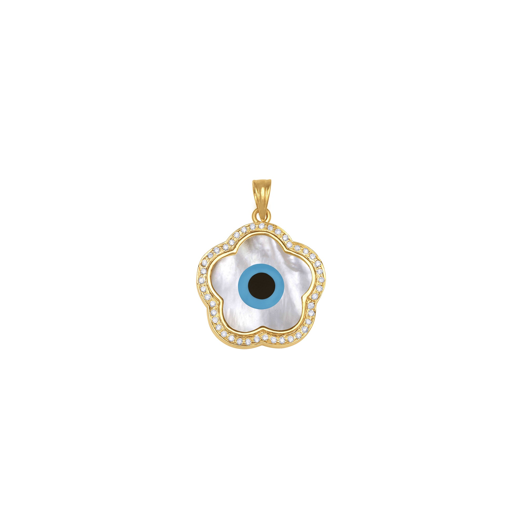Small Flower Evil Eye Diamond Chain Pendant