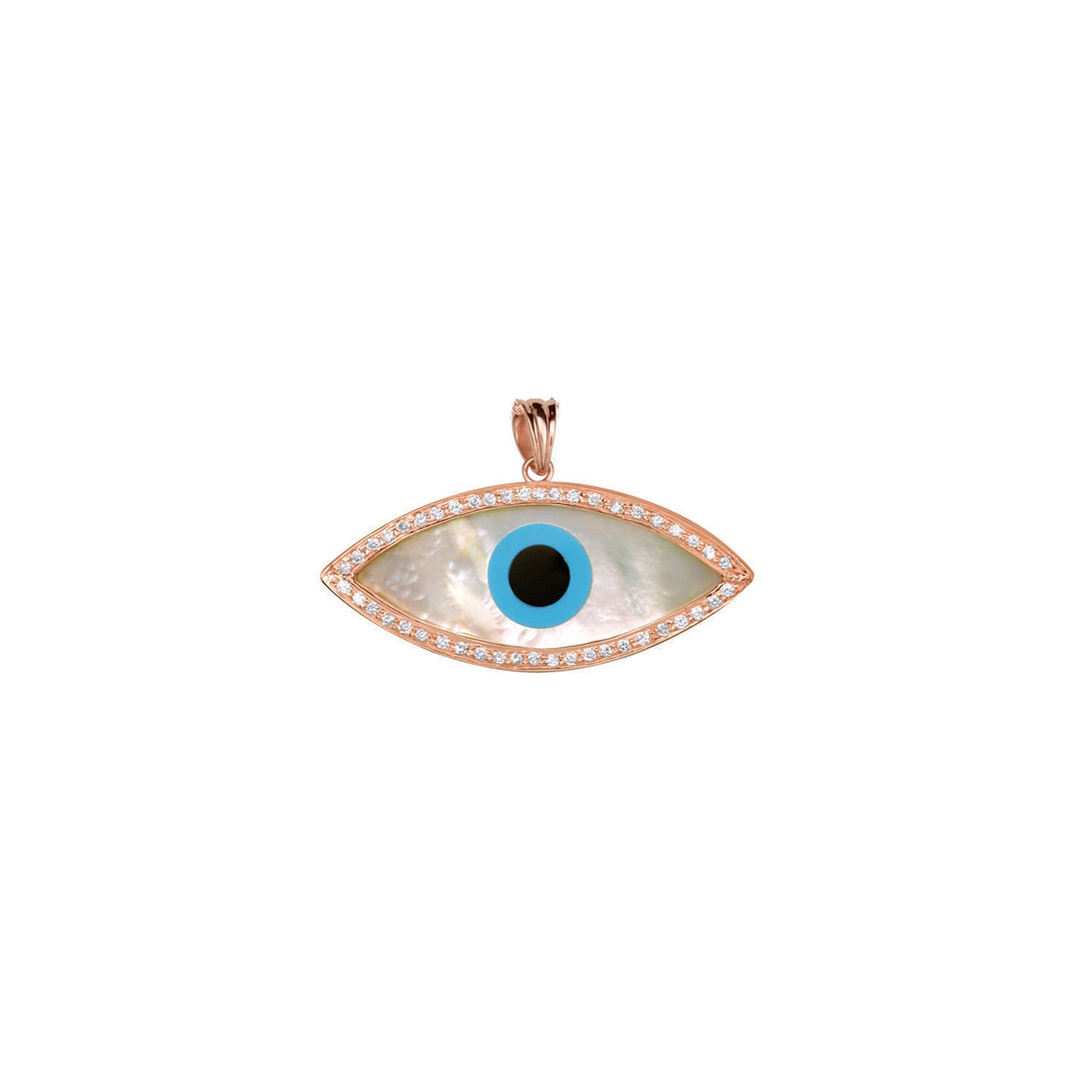 Large Marquise Evil Eye Diamond Chain Pendant
