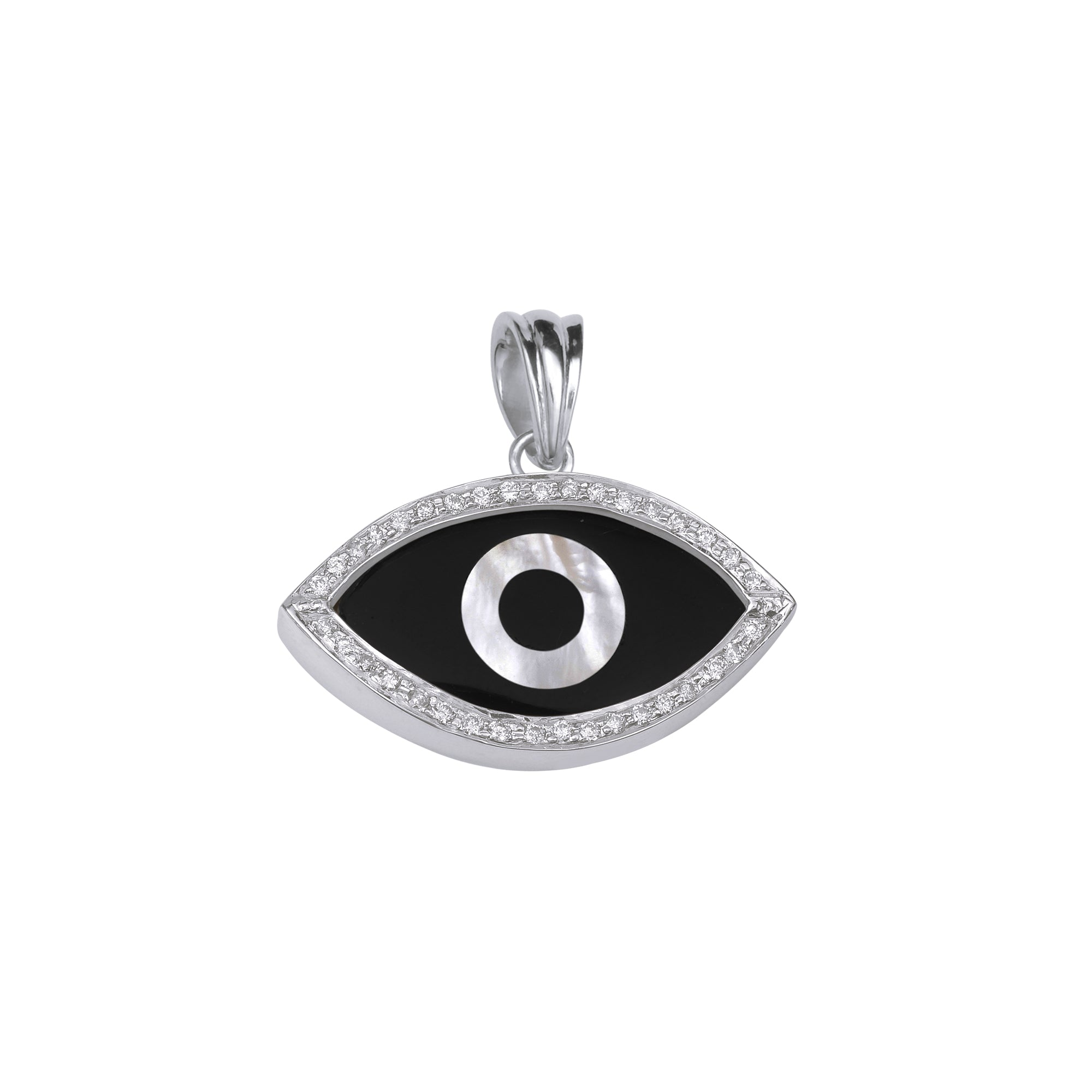 Medium Marquise Black Onyx Evil Eye Diamond Chain Pendant