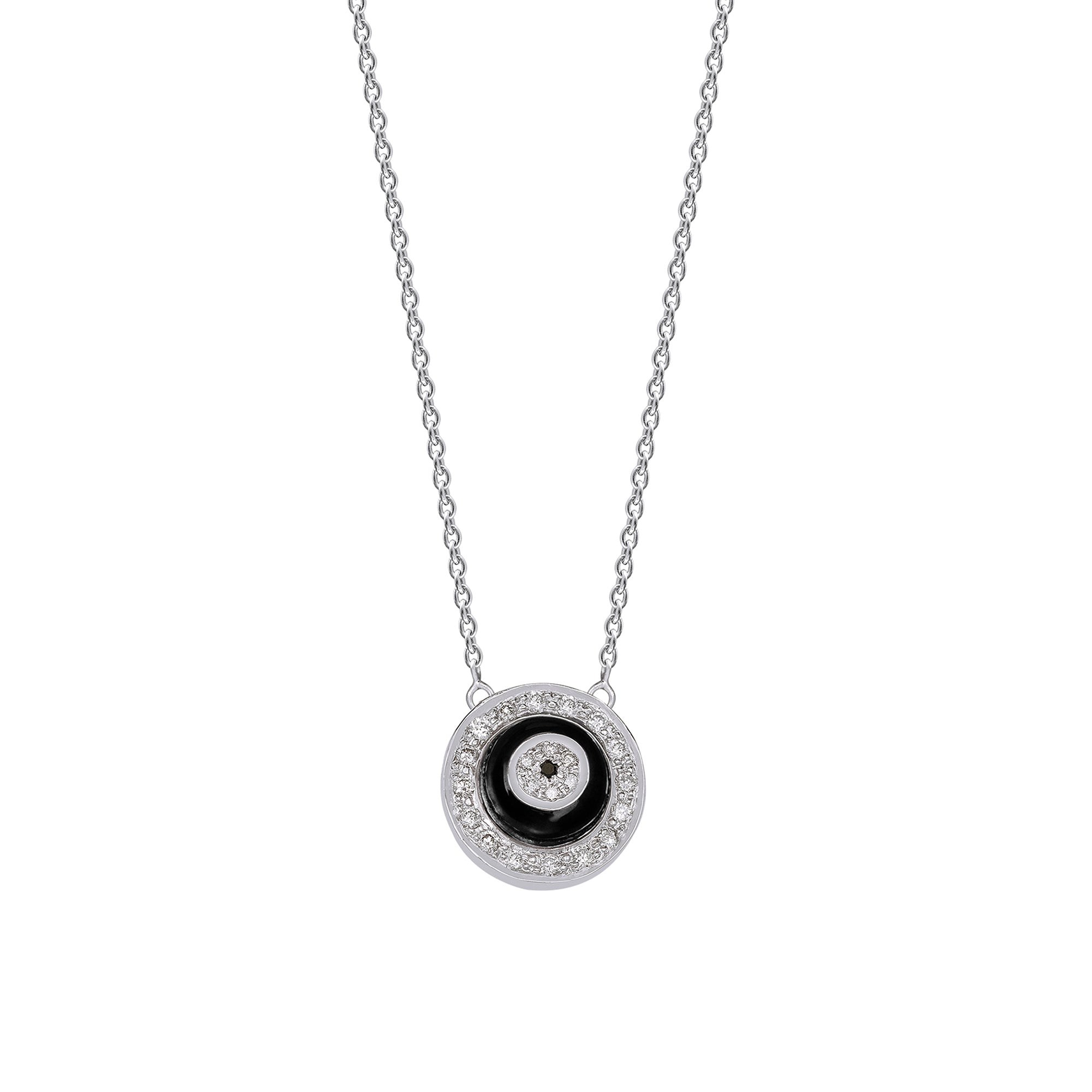 Black Onyx Donut Diamond Chain Pendant