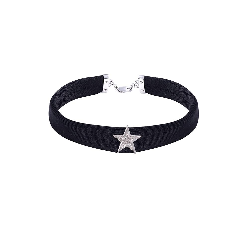 Star Diamond Black Band Choker