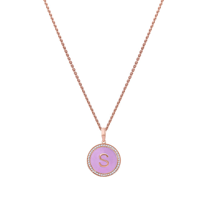 Personalised Pink Enamel Initial Diamond Chain Pendant
