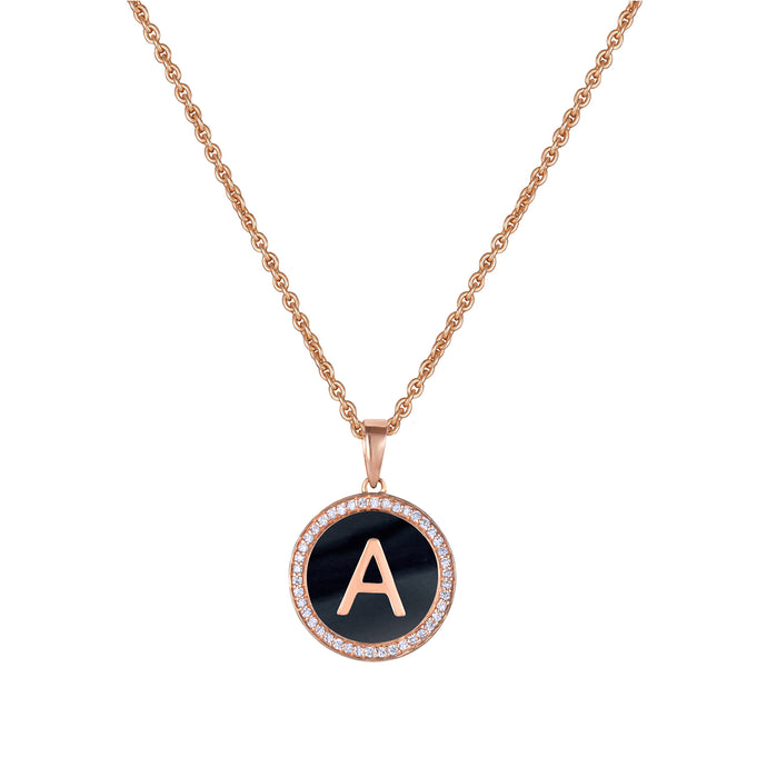 Personalised Black Enamel Initial Diamond Chain Pendant