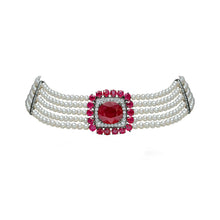 Load image into Gallery viewer, Ruby and Pearl Choker