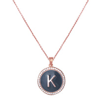 Load image into Gallery viewer, Personalised Grey Enamel Initial Diamond Chain Pendant