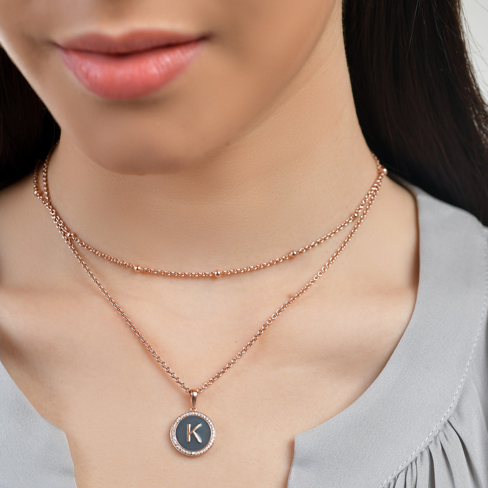 Personalised Grey Enamel Initial Diamond Chain Pendant