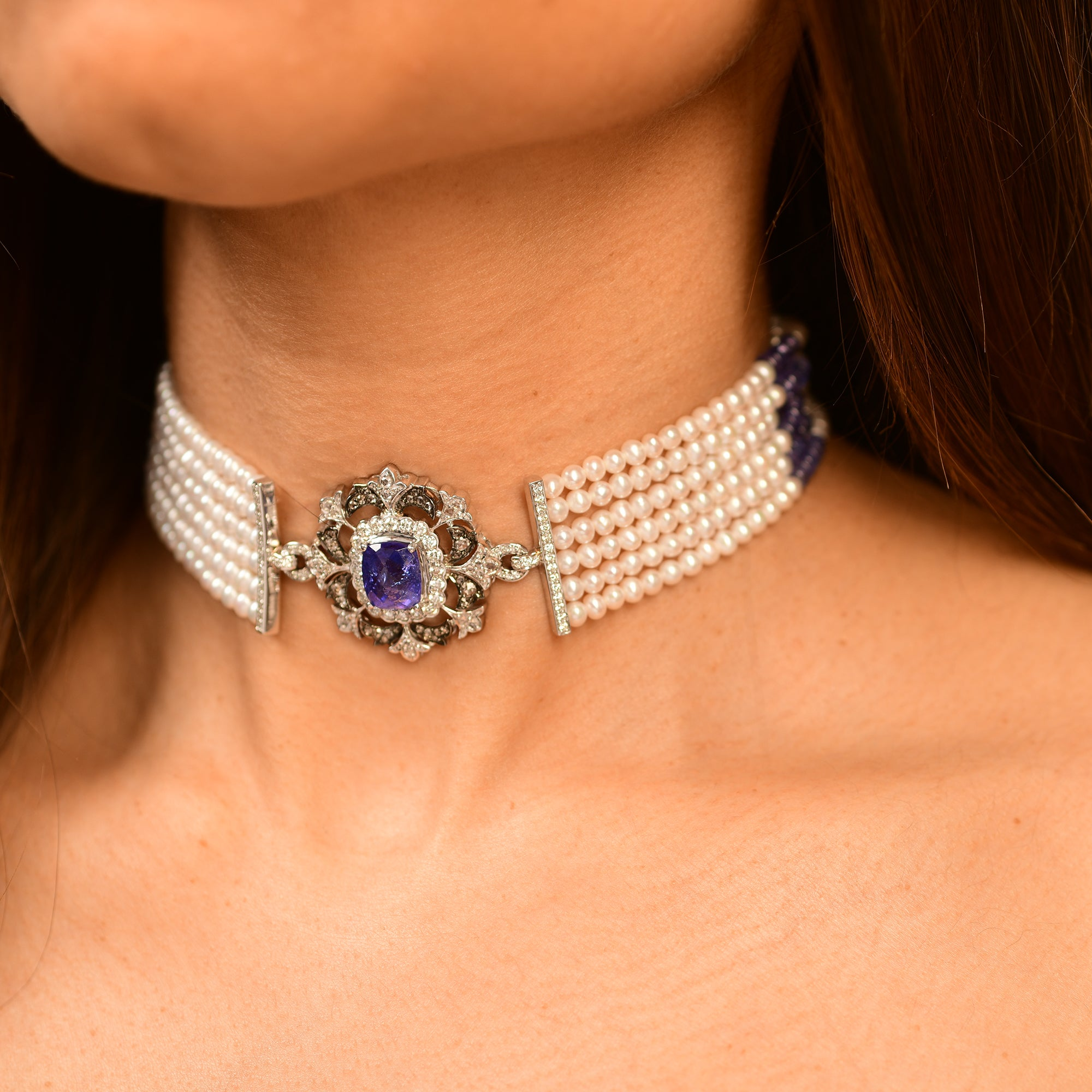 Vintage Tanzanite and Pearl Choker
